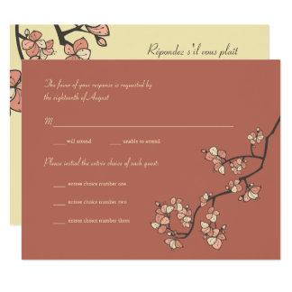 Pink Peach Blossoms Sakura Asian Wedding RSVP Card