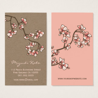 Pink Peach Blossoms Sakura Flowers Profile Card