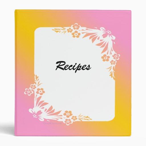 Pink Peach Floral Custom Recipe Binder