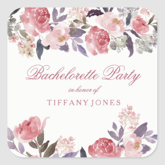 Pink Peach Floral Watercolor Bachelorette Party Square Sticker