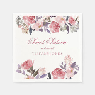 Pink Peach Floral Watercolor Sweet 16 Party Paper Napkins