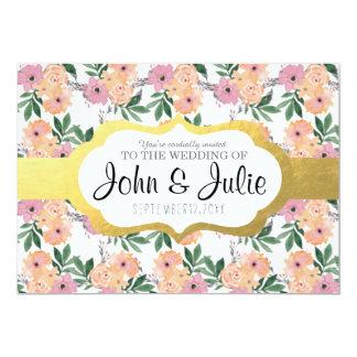 "Pink&Peach Floral Wedding 5"" X 7"" Invitation Card"
