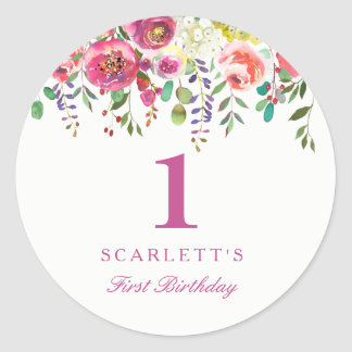 Pink Peach Flowers Girl 1st Birthday Favor Seal