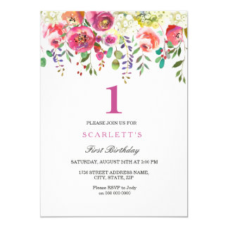 Pink Peach Flowers Girl 1st Birthday Invitation