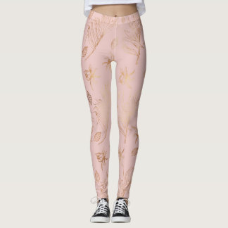 Pink Peach Gold Leaf Overlay Leggings