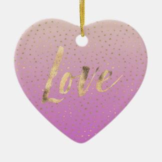Pink Peach Gold Ombre Confetti Dots Ceramic Ornament