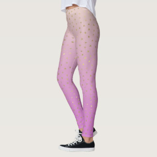 Pink Peach Gold Ombre Confetti Dots Leggings