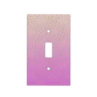 Pink Peach Gold Ombre Confetti Dots Light Switch Cover