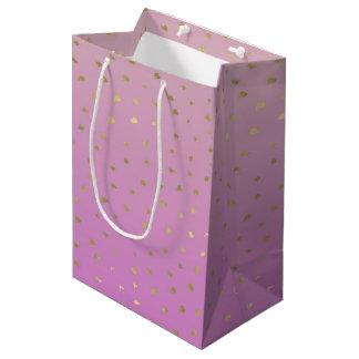 Pink Peach Gold Ombre Confetti Dots Medium Gift Bag