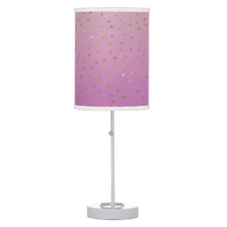 Pink Peach Gold Ombre Confetti Dots Table Lamp