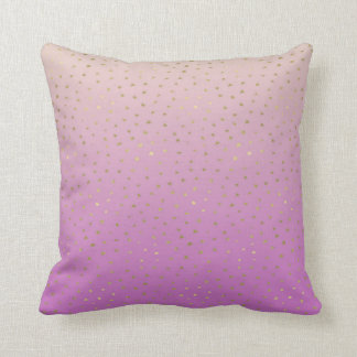 Pink Peach Gold Ombre Confetti Dots Throw Pillow