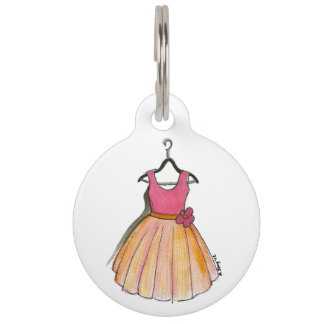 Pink Peach Prom Party Retro Vintage Fashionista Pet Name Tag