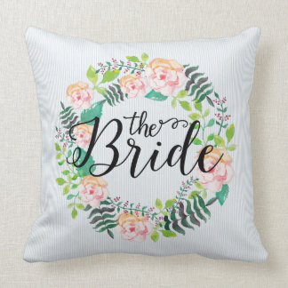 Pink & Peach Roses Wreath-Modern Text-Bride Throw Pillow