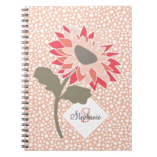 Pink-Peach-Salmon Flower Random Dots Monogram Notebook