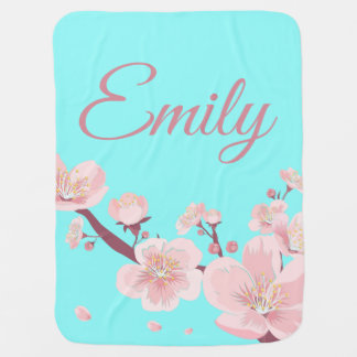 Pink Peach Tree Blossoms Floral Flowers Name Baby Blanket