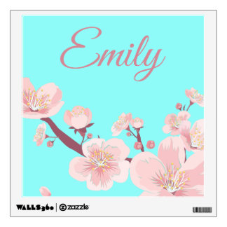 Pink Peach Tree Blossoms Floral Flowers Name Wall Sticker