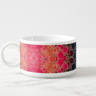 Pink Peach Turquoise Fractal Abstract Chili Bowl