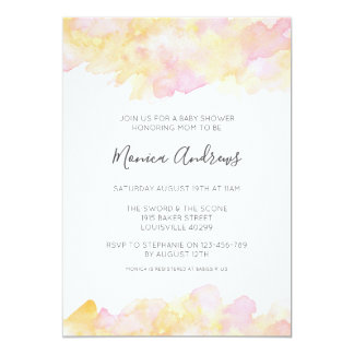 Pink & Peach watercolour Baby Shower invitation