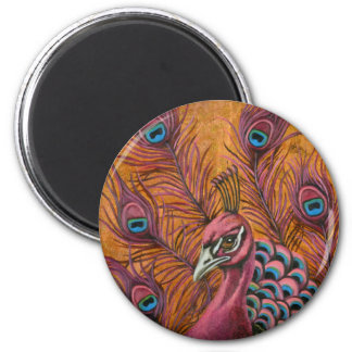 Pink Peacock 2 Inch Round Magnet