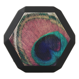 Pink Peacock Feather Chic Black Bluetooth Speaker