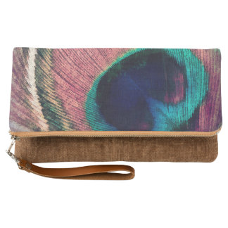 Pink Peacock Feather Chic Clutch