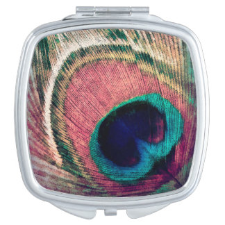 Pink Peacock Feather Chic Compact Mirrors