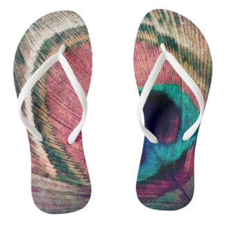 Pink Peacock Feather Chic Flip Flops