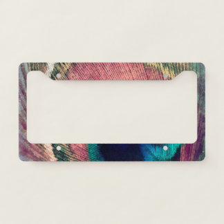 Pink Peacock Feather Chic License Plate Frame