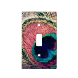 Pink Peacock Feather Chic Light Switch Cover
