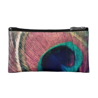 Pink Peacock Feather Chic Makeup Bag