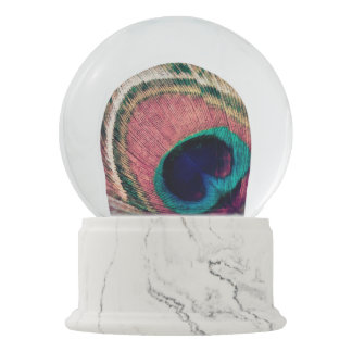 Pink Peacock Feather Chic Snow Globe