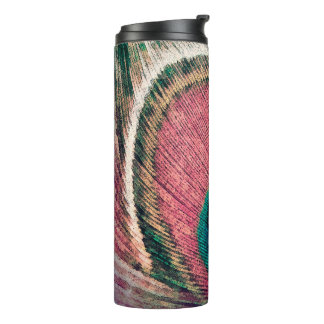 Pink Peacock Feather Chic Thermal Tumbler
