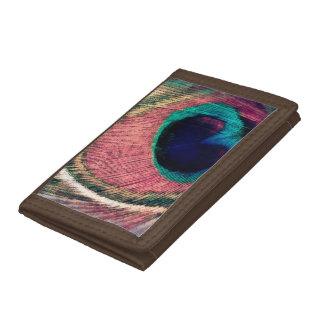 Pink Peacock Feather Chic Tri-fold Wallet