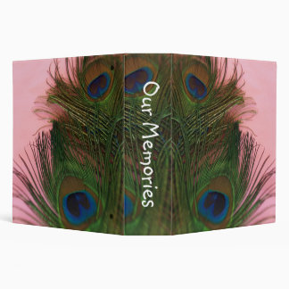 Pink Peacock Feathers Binder