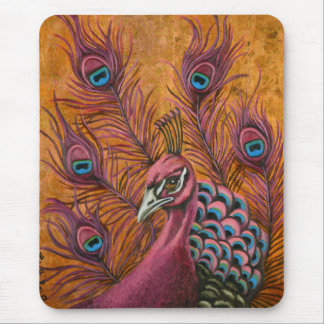 Pink Peacock Mouse Pad