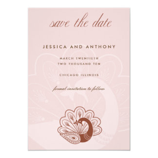 """pink peacock save the date 5"""" x 7"""" invitation card"""