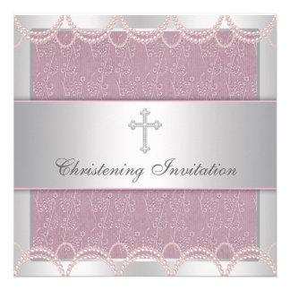 Pink Pearl Cross Baby Girl Baptism Christening Invitation