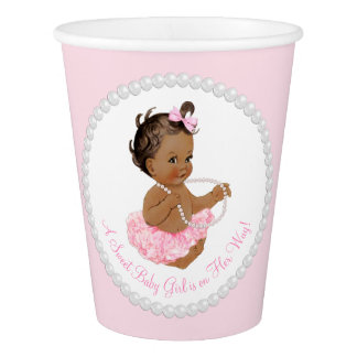 Pink Pearl Tutu Ballerina Ethnic Girl Baby Shower Paper Cup