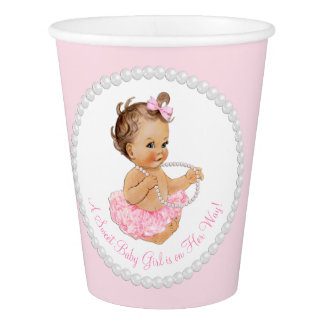 Pink Pearl Tutu Ballerina Girl Baby Shower Paper Cup