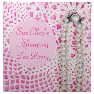Pink Pearls & Lace - PERSONALIZED! Cloth Napkin