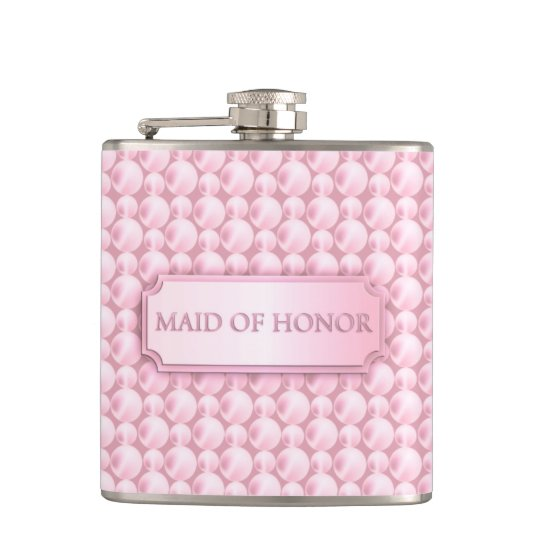 Pink Pearly Maid of Honour Wedding Flask