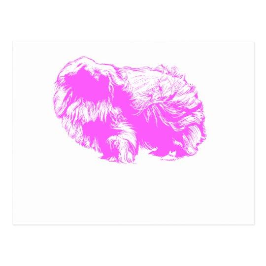 Pink Pekingese Silhouette Postcard