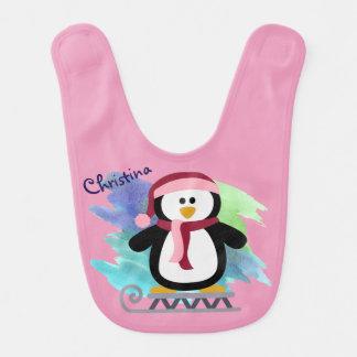 Pink Penguin Sledding Bibs