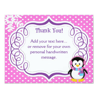 """Pink Penguin Thank You Card 4.25"""" X 5.5"""" Invitation Card"""