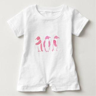 Pink Penguin Trio Baby Romper