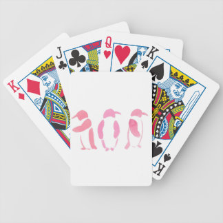 Pink Penguin Trio Bicycle Playing Cards