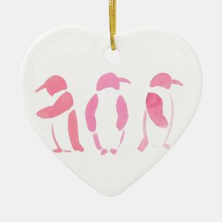 Pink Penguin Trio Ceramic Heart Ornament