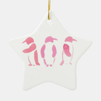Pink Penguin Trio Ceramic Star Ornament
