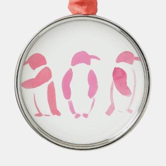 Pink Penguin Trio Silver-Colored Round Ornament