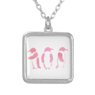 Pink Penguin Trio Silver Plated Necklace